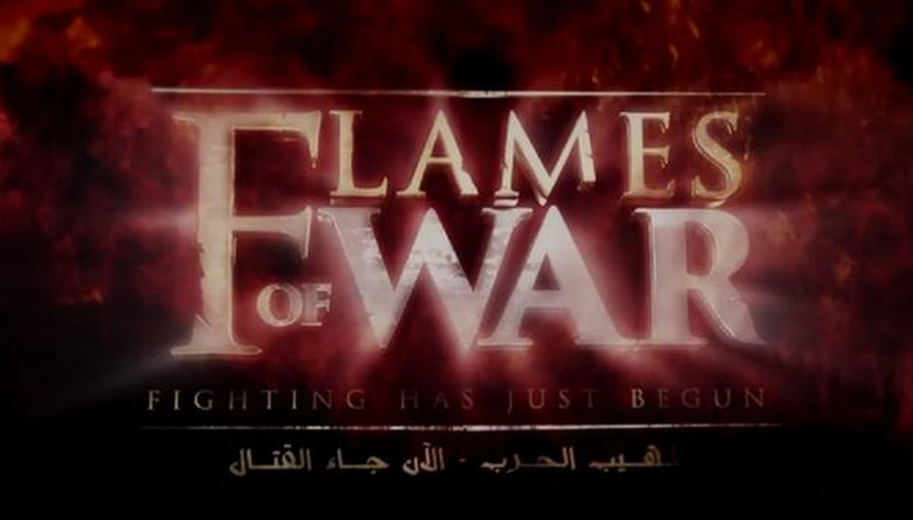 This is a screenshot of a portion of a movie-trailer-style video reportedly released by the Islamic State, also known as ISIS or ISIL.