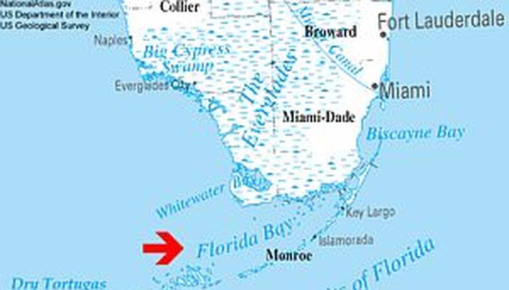Florida Bay is part of the Everglades National Park. (NationalAtlas.gov)
