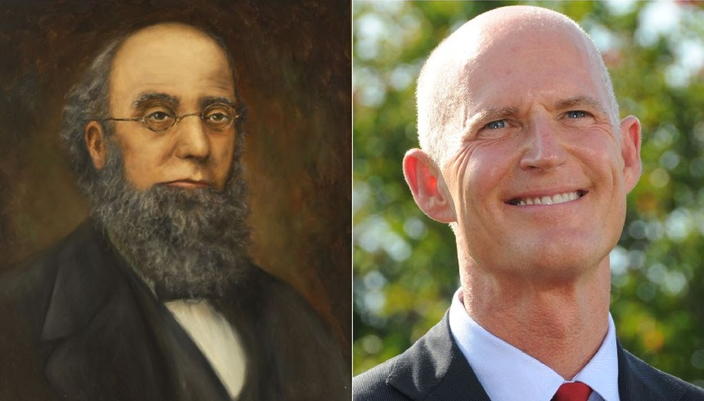 Rick Scott (right) would not be the first bald governor if elected in November. Harrison Reed (left) has that honor.