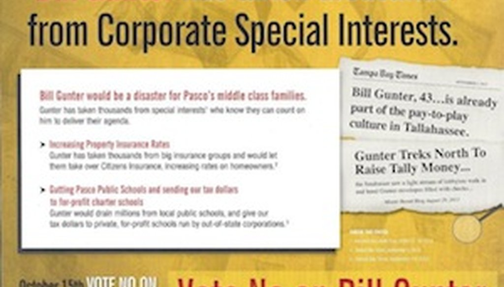 A mailer from the Florida Democratic Party attacks Republican candidate Bill Gunter.