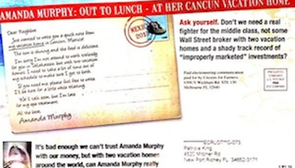 A campaign mailer from an outside group attacks Democratic candidate Amanda Murphy.