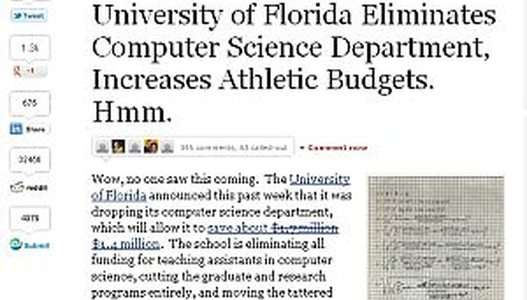 A blog post about UF cutting computer science and funding athletics went viral.