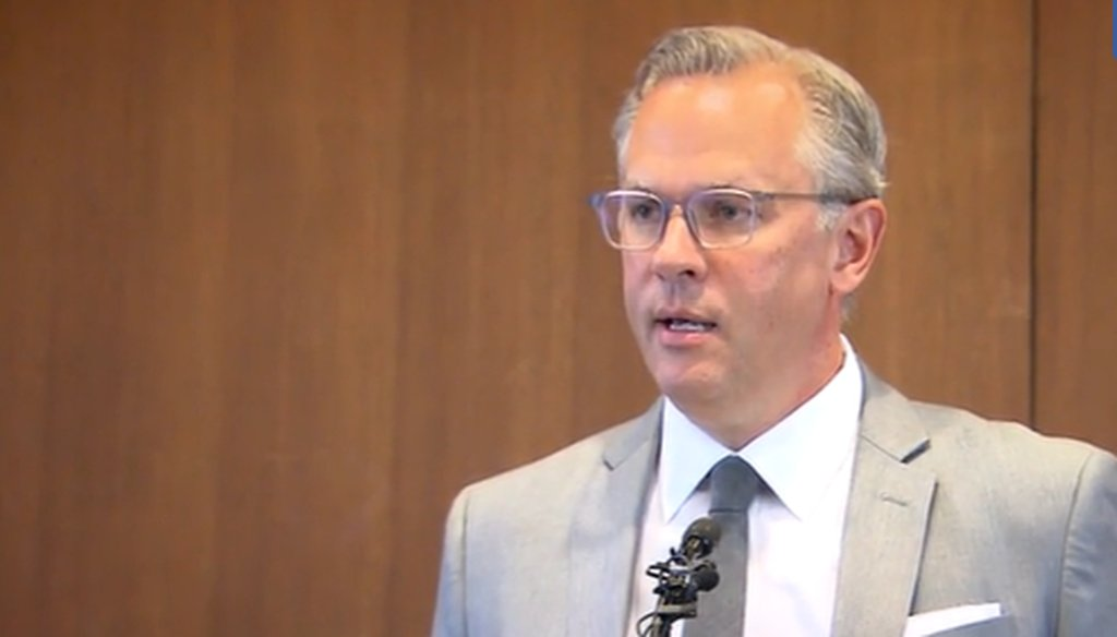 North Carolina Lt. Gov. Dan Forest speaks during a press conference in Raleigh in 2020. (WRAL screenshot)