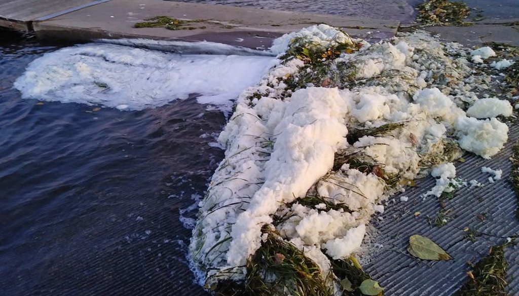 """The Wisconsin DNR confirmed high levels of """"forever"""" foam chemicals in Starkweather Creek, where it empties into Lake Monona in Madison. (Wisconsin Department of Natural Resources.)"""