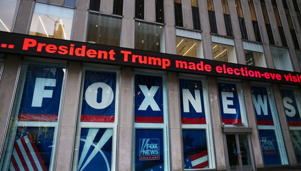 A headline is shown outside Fox News studios on Nov. 28, 2018, in New York. (AP/Lennihan)