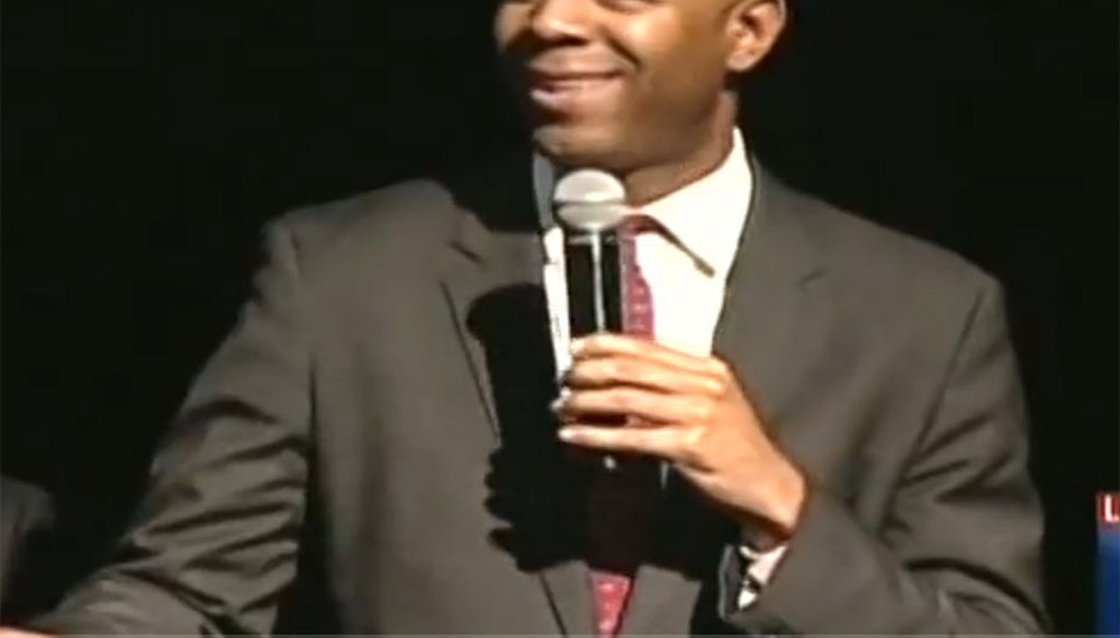 Ryan Frazier speaking at a Colorado GOP Senate candidates debate