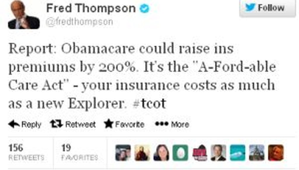 Former Sen. Fred Thompson, R-Tenn., tweeted that President Barack Obama's health care law will increase premiums enough to buy a new Ford Explorer. Is that correct?