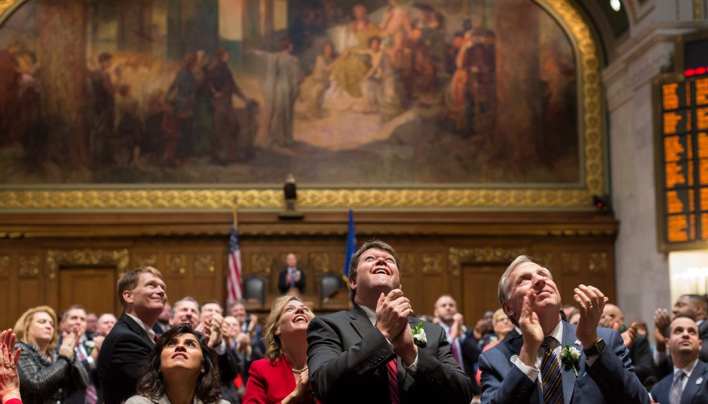 State representatives applaud former Assembly Leaders seated in the gallery during the 100th opening ceremony of Wisconsin State Legislature Jan. 3, 2017, in Madison, Wis. (Photo © Andy Manis)