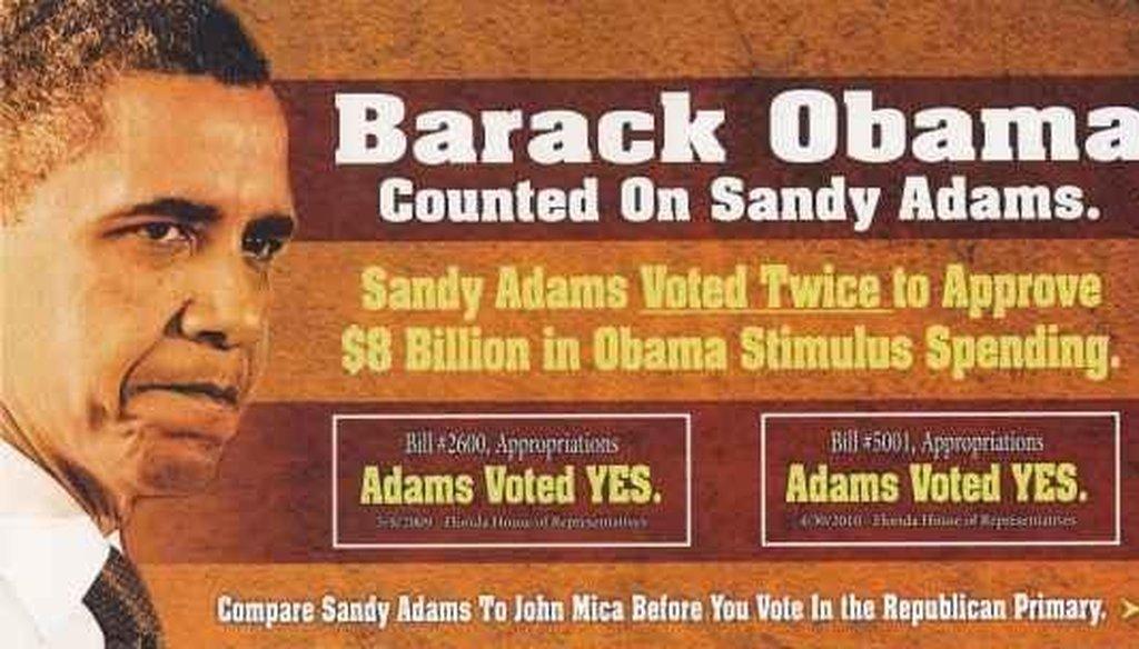 John Mica attacks Sandy Adams in a mailer.