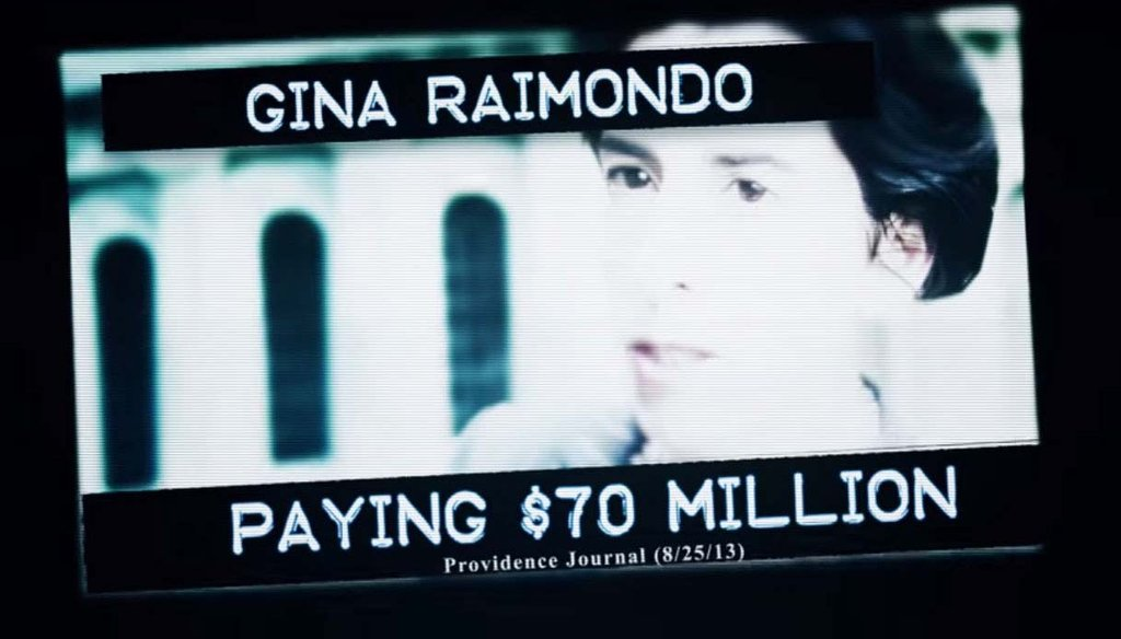 """An image from """"Friend of Wall Street,"""" a TV ad by the campaign for Republican Allan Fung, attacking his Democratic rival for governor, Gina Raimondo."""