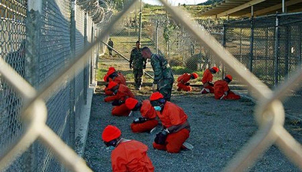 Detainees in Guantanamo Bay, Cuba, in 2002. (AP file)