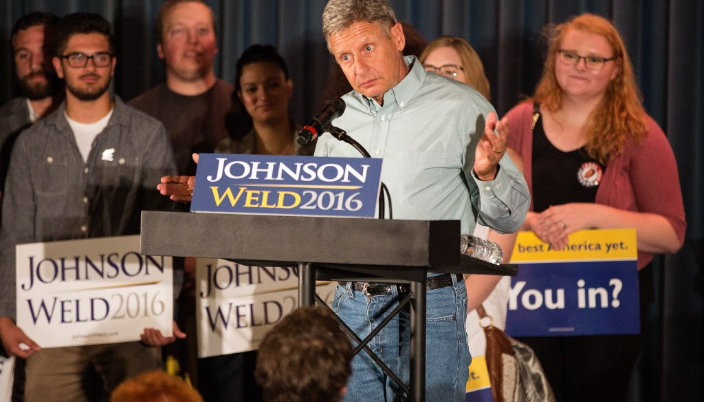 Libertarian presidential candidate Gary Johnson during a Milwaukee campaign appearance. (Gary Porter for the Milwaukee Journal Sentinel)