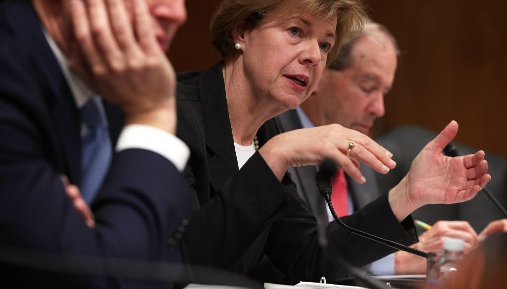 U.S. Sen. Tammy Baldwin, D-Wisconsin, claimed 97 percent of gun owners support universal background checks. (Getty)
