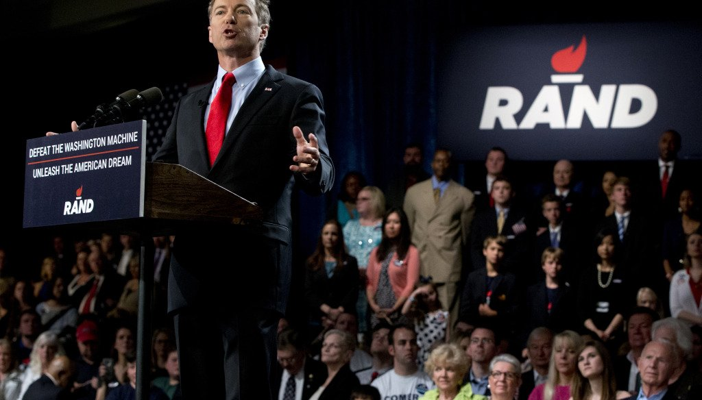 Rand Paul announces the launch of his campaign for president on April 7, 2015, in Louisville, Ky. (AP Photo)