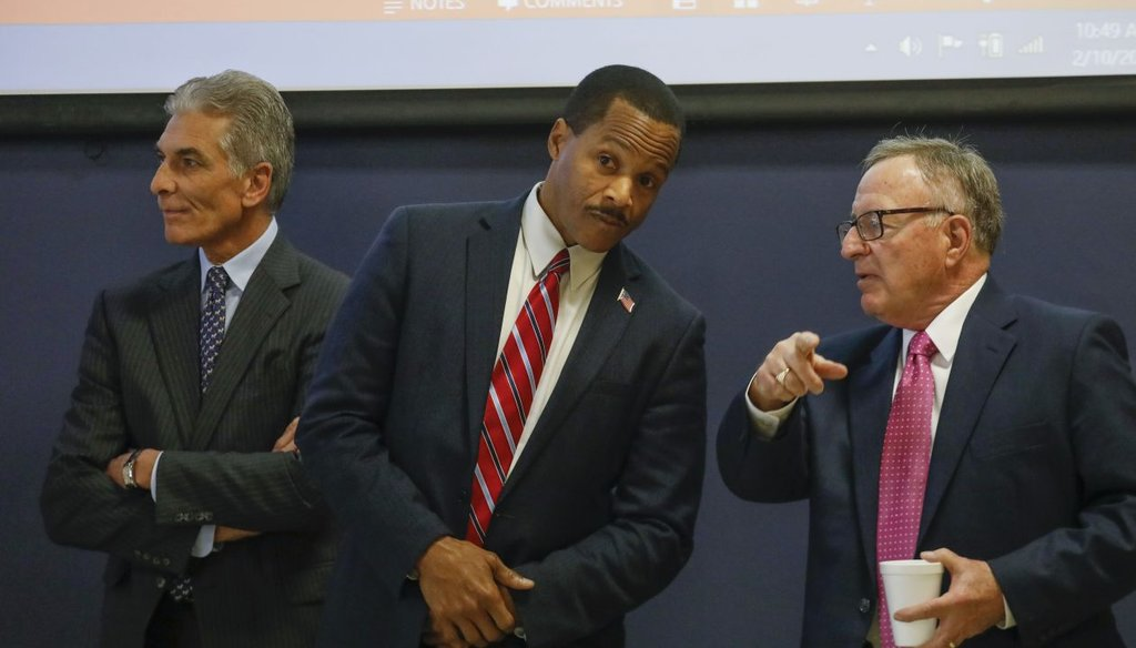 Joel Giambra (left) claimed he was the only Republican candidate for governor who has cut taxes. (Derek Gee/Buffalo News)