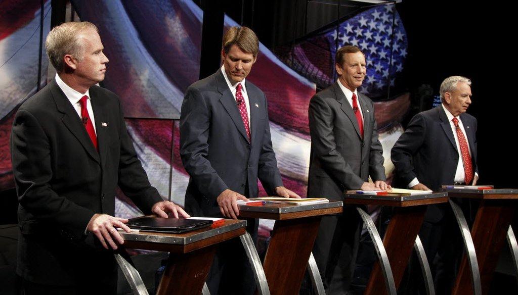 Republican U.S. Senate hopefuls Jeff Fitzgerald, Eric Hovde, Mark Neumann and Tommy Thompson prepare for their final debate.
