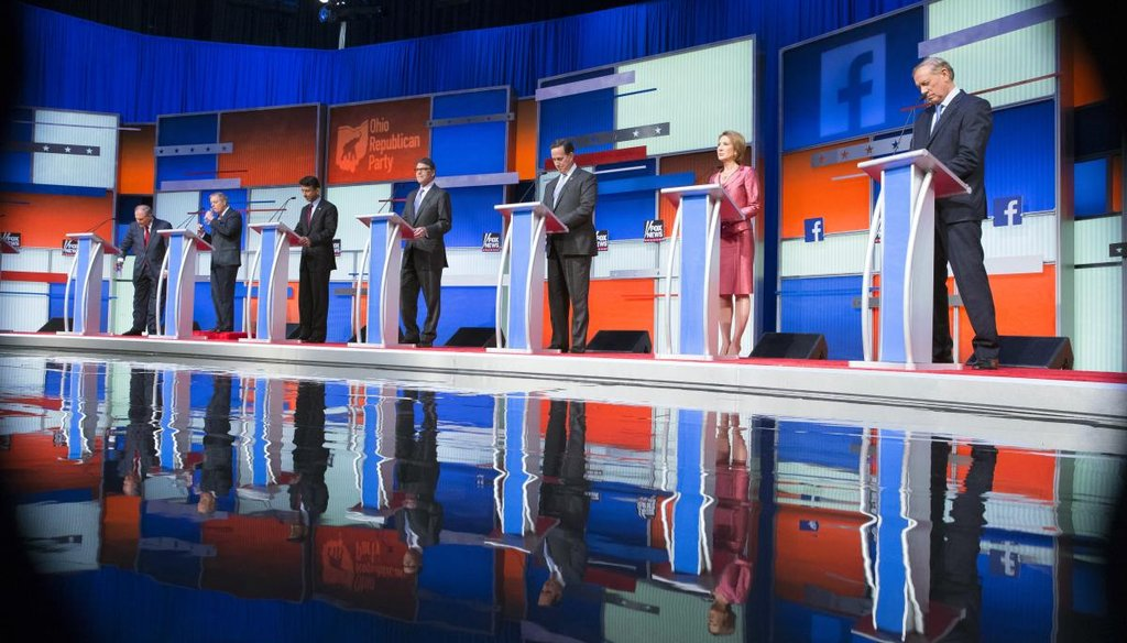 The first seven GOP presidential candidates debated at 5 p.m. Thursday. The remaining 10 debate at 9 p.m. (AP)