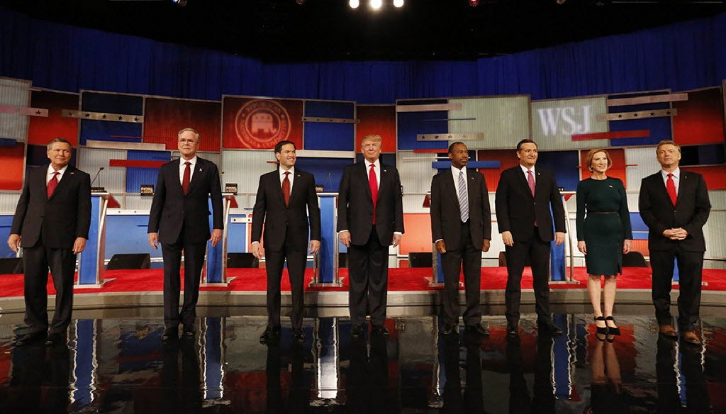 The Republican presidential candidates line up before Tuesday's debate in Milwaukee. (Milwaukee Journal Sentinel photo by Mark Hoffman)