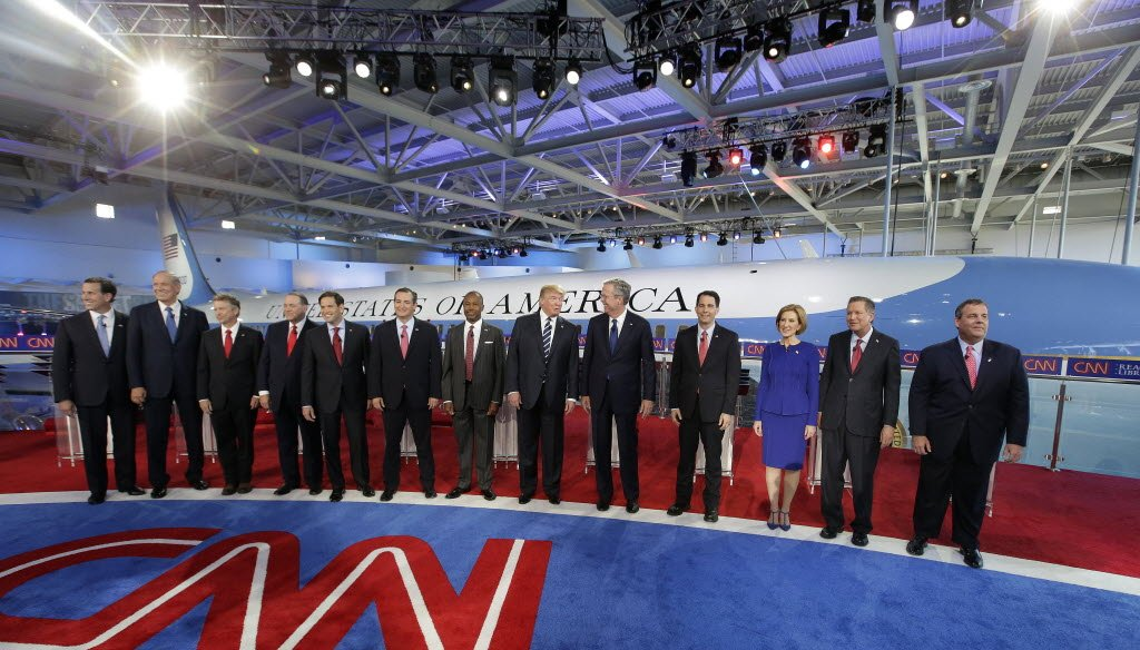 Wisconsin Gov. Scott Walker (fourth from right) was among the Republican presidential candidates who participated in the second Republican presidential debate on Sept. 16, 2015. (AP photo)