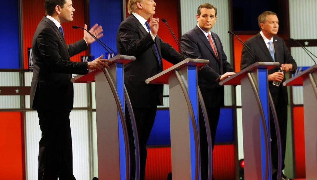Republican presidential candidates Marco Rubio, Donald Trump, Ted Cruz and John Kasich debate on March 3 in Detroit. (AP)