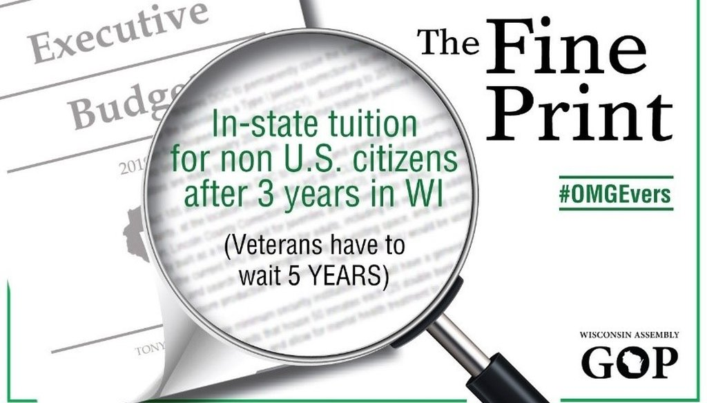 This graphic from the Wisconsin Assembly GOP addressed tuition breaks for immigrants and veterans on March 12, 2019. Tweets and a press release featuring the graphic were later deleted or updated with new wording. Source: Screenshot from Twitter.com