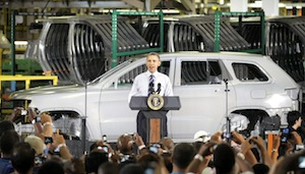 In 2010, President Obama visited a Chrysler plant in Detroit, Mich.