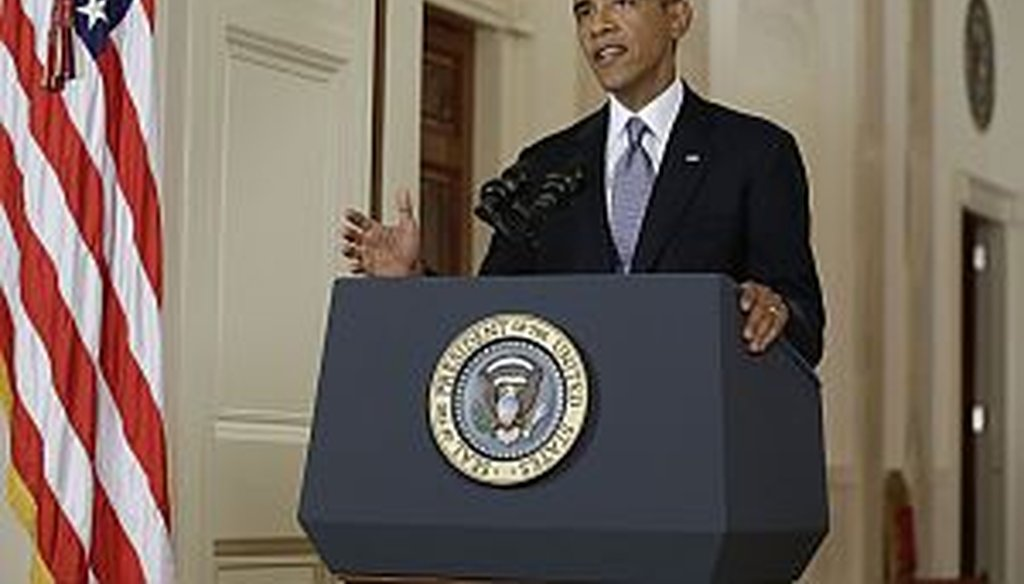 President Barack Obama addresses the nation in a live televised speech from the East Room of the White House on September 10, 2013.