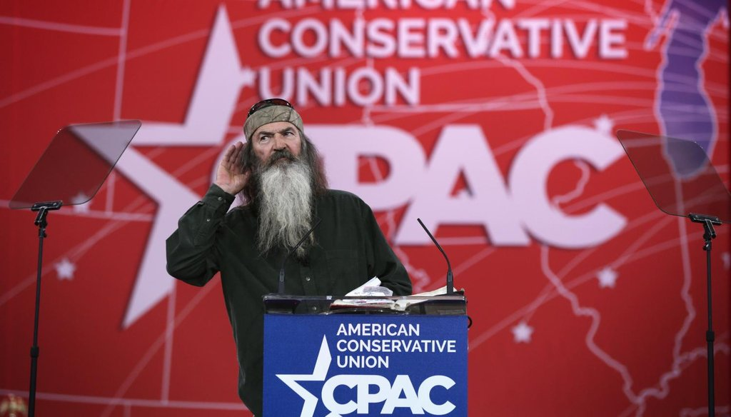 """""""Duck Dynasty"""" star Phil Robertson speaks at the conservative CPAC conference on Feb. 27, 2015. (Getty)"""
