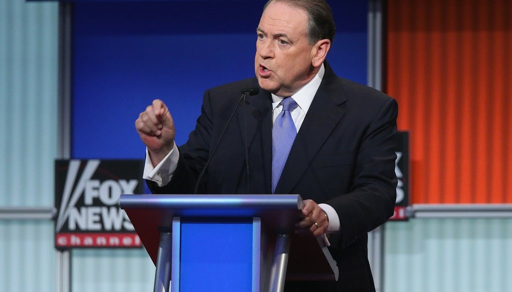 Republican presidential candidate Mike Huckabee fields a question during the first Republican presidential debate. (AP)