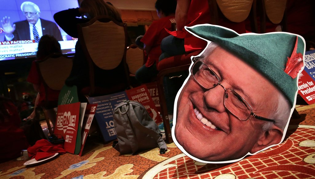 Supporters of Democratic presidential candidate Sen. Bernie Sanders gather at a watch party for a presidential debate at Wynn Las Vegas on Oct. 13, 2015. (Getty Images)