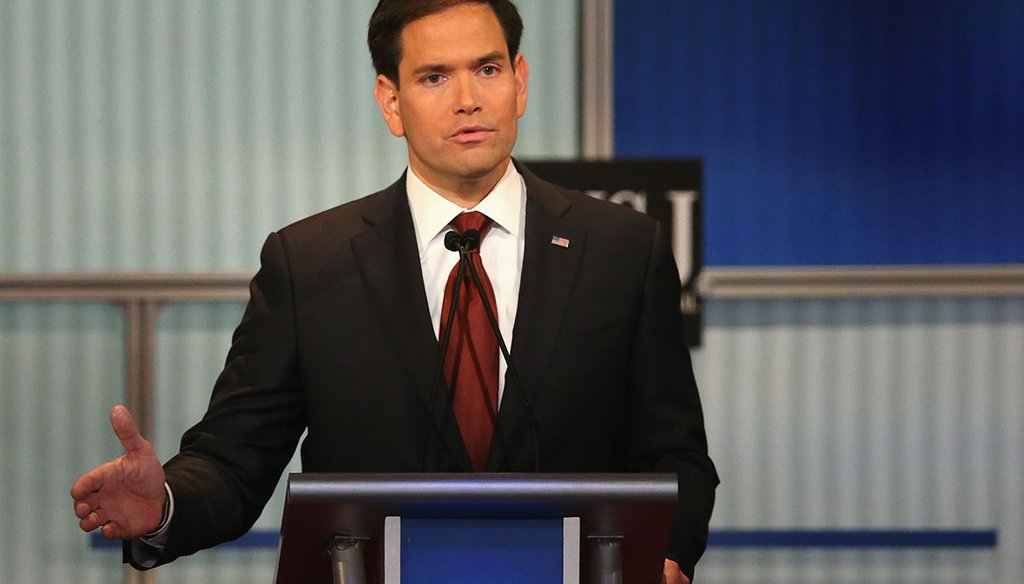Presidential candidate Republican Sen. Marco Rubio gives his closing remarks at the fourth Republican presidential debate in Wisconsin. (Getty Images)