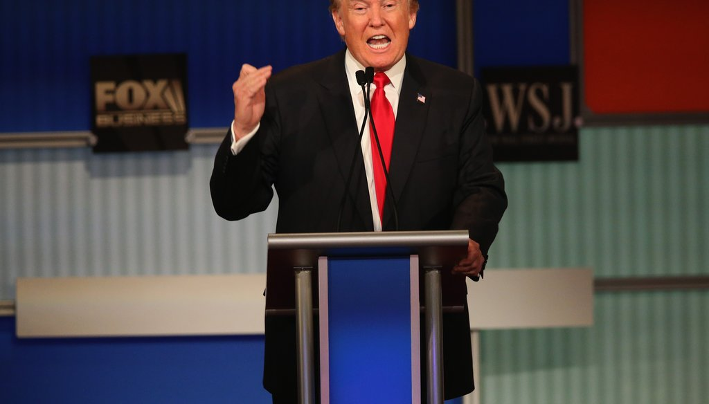 Presidential candidate Donald Trump speaks during the Republican presidential debate in Milwaukee. (Getty Images)