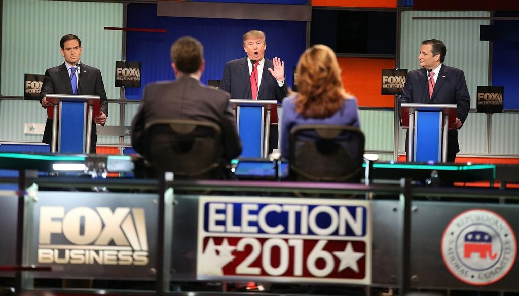 Republican presidential candidates Sen. Marco Rubio, R-Fla., Donald Trump and Sen. Ted Cruz, R-Texas, participate in the Fox Business Network Republican presidential debate on Jan. 14, 2016. (Getty)