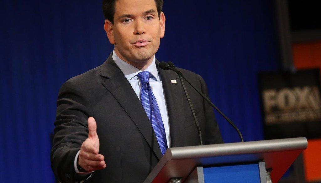 Sen. Marco Rubio, R-Fla, at the Republican presidential debate in South Carolina. (Getty)