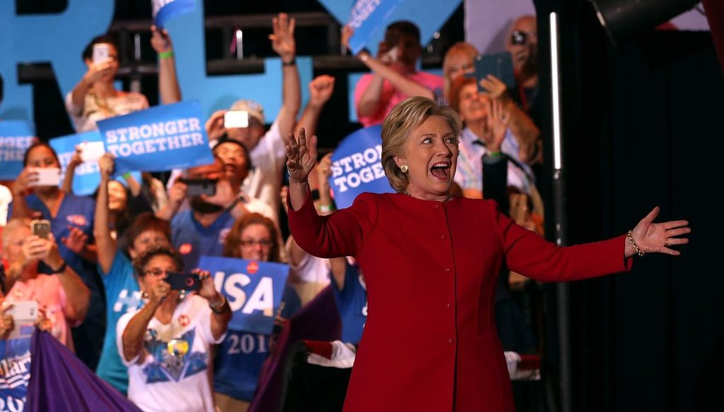 Democratic presidential nominee Hillary Clinton greets supporters during a campaign rally at Broward College on Oct. 25, 2016, in Coconut Creek, Fla. (Getty)