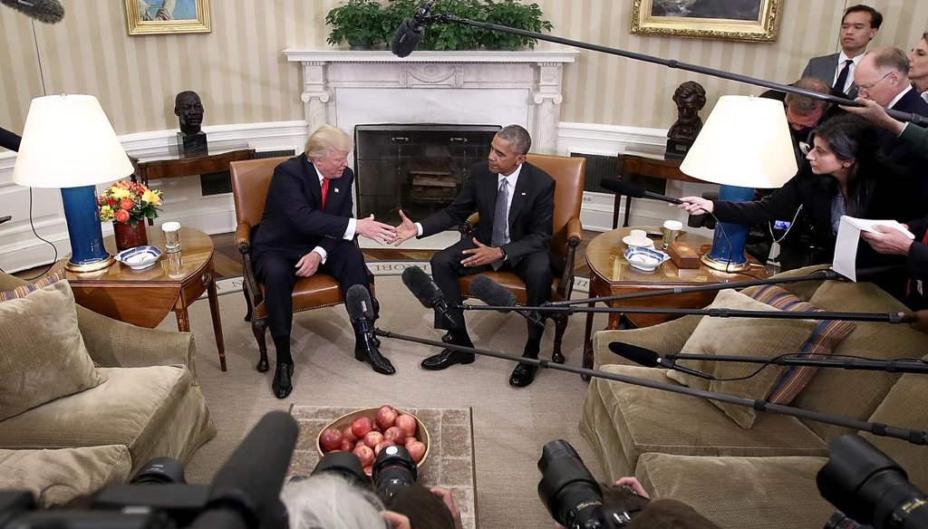 President Barack Obama shakes hands with President-elect Donald Trump following a meeting in the Oval Office Nov. 10, 2016, in Washington. (Getty)