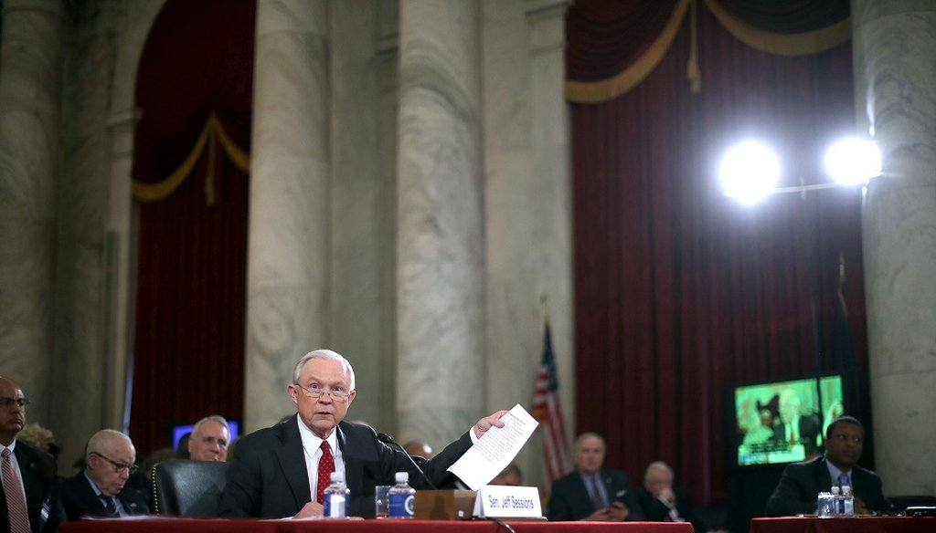 Sen. Jeff Sessions (R-AL) testifies before the Senate Judiciary Committee during his confirmation hearing to be the U.S. Attorney General January 10, 2017 in Washington, DC. (Photo by Chip Somodevilla/Getty Images)