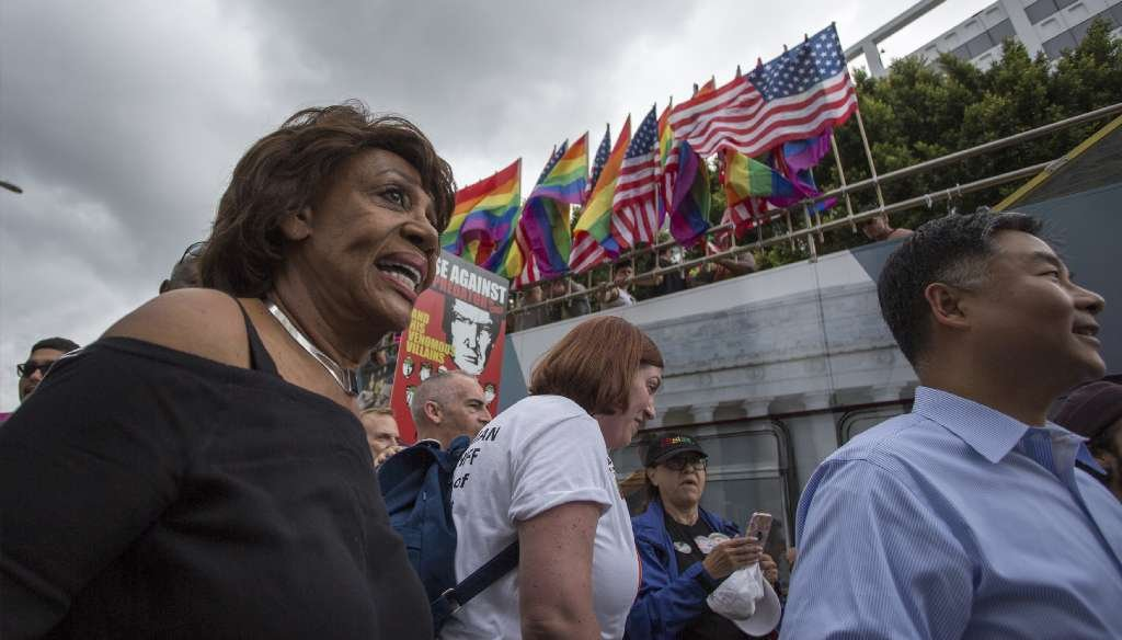 "A website called TeddyStick.com cited an unproven statistic about U.S. Rep. Maxine Waters, D-Calif., and her attendance record at ""congressional meetings."" (Getty Images)"