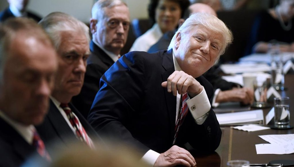 Preisdent Donald Trump attends a meeting in the Cabinet Room of the White House June 12, 2017, in Washington. (Getty)