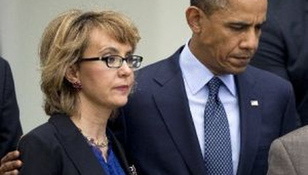 President Barack Obama consoles former Rep. Gabby Giffords in the White House Rose Garden on April 17, 2013. Obama and Giffords were present for a news conference after the Senate failed to advance a bill to expand background checks on guns.