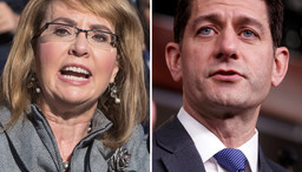 A political action committee named for former Democratic U.S. Rep. Gabrielle Giffords has targeted GOP U.S. House Speaker Paul Ryan over gun legislation.