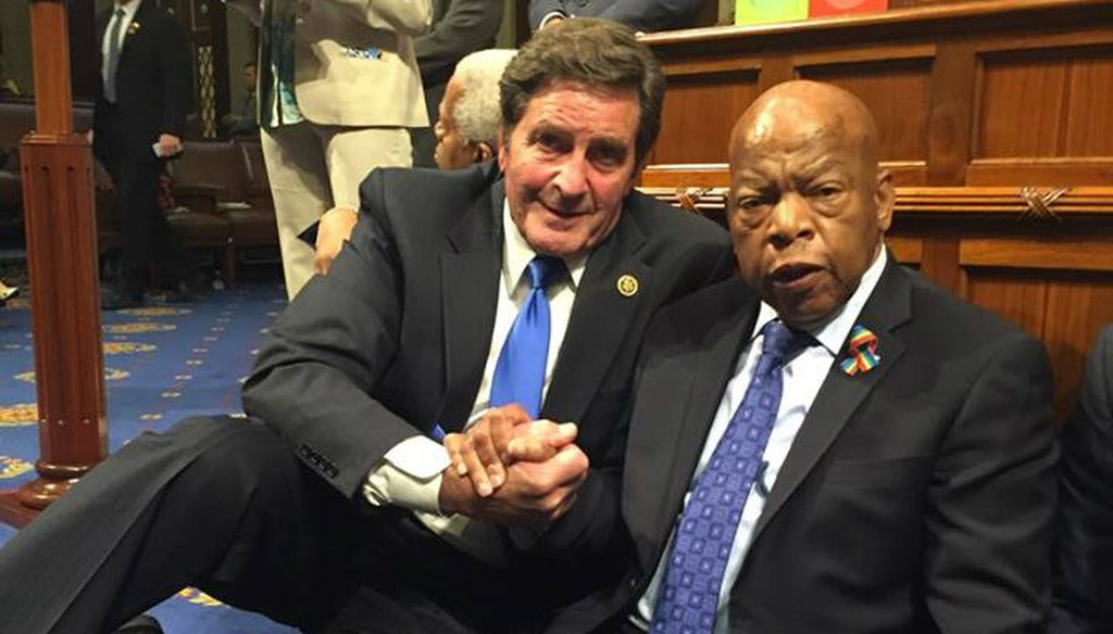 Rep. John Garamendi and Rep. John Lewis on the House floor during the sit in calling for a vote on gun legislation. Facebook / Congressman John Garamendi