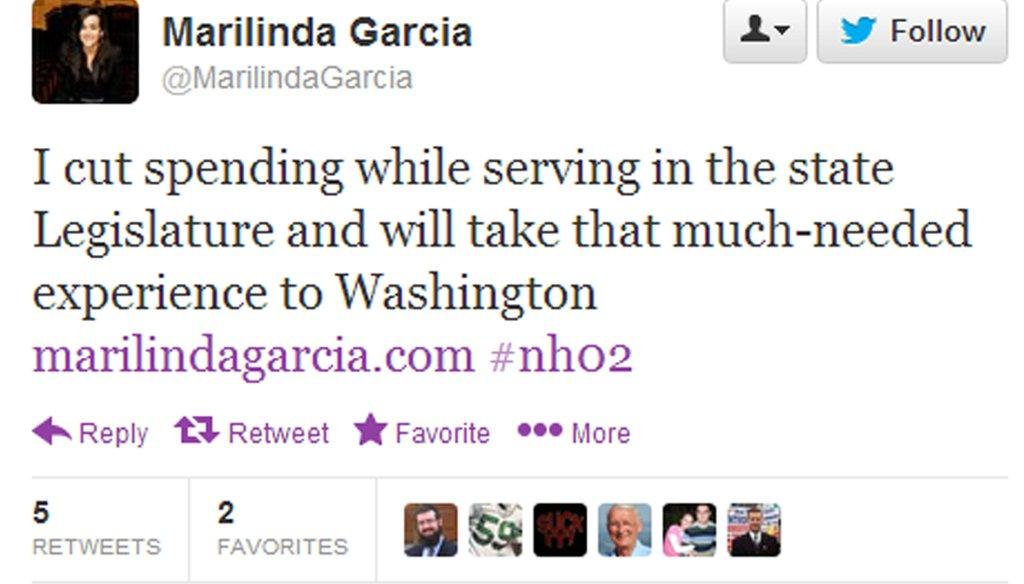 Marilinda Garcia's tweet boasting her record of cutting spending.