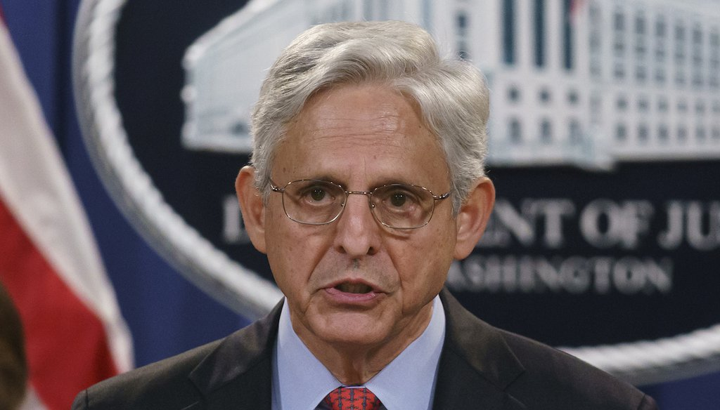 Attorney General Merrick Garland speaks to reporters at the Department of Justice. (AP)