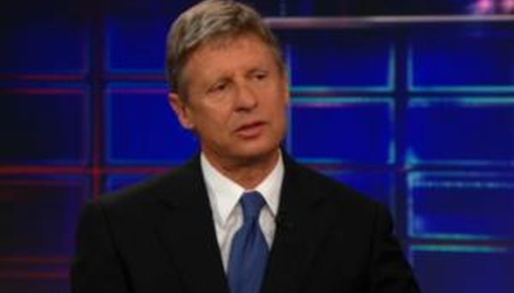 Libertarian presidential candidate Gary Johnson told Jon Stewart that he has 8 percent support nationally. Is that correct?