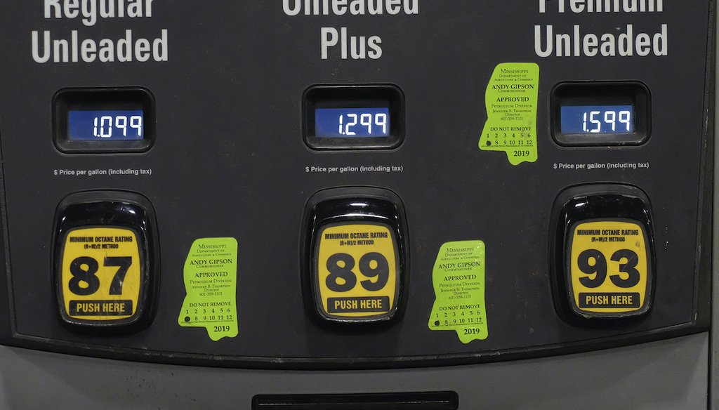 Gas prices are shown on a gas pump in Hattiesburg, Miss., on the night of April 26, 2020. Around the country, prices plummeted during the coronavirus outbreak. (AP)