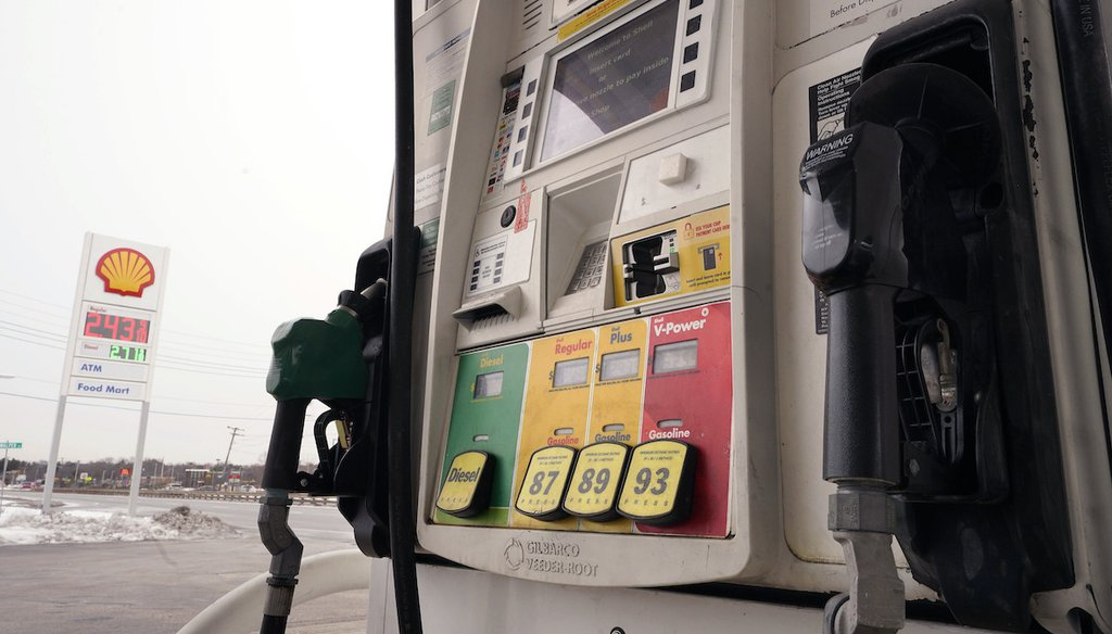 Gasoline and diesel prices at a Shell gas station in Westwood, Mass., on Feb. 18, 2021. (AP)
