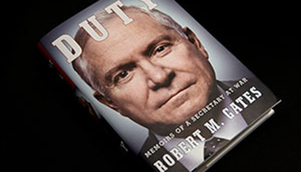 "The cover of Robert Gates' new book ""Duty: Memoirs of a Secretary at War."" (AP)"