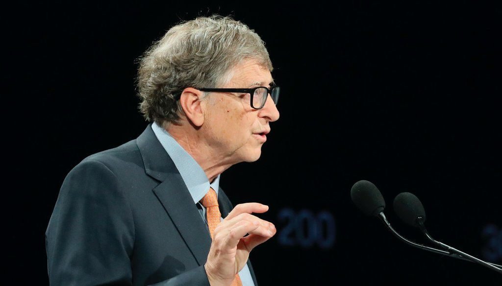 Billionaire philanthropist and Microsoft founder Bill Gates speaks during the Global Fund to Fight AIDS event in central France on Oct. 10, 2019. (Marin/AP)