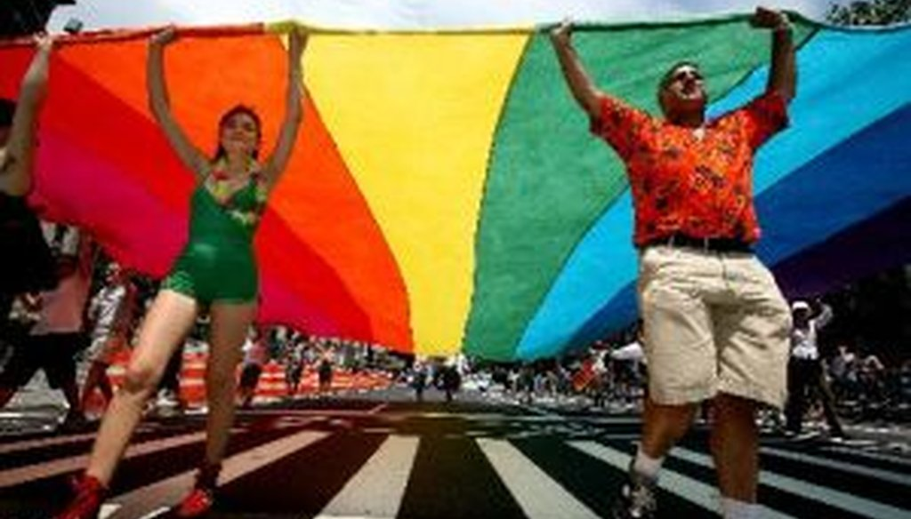Marchers in a gay pride parade in New York. (2012 file photo)